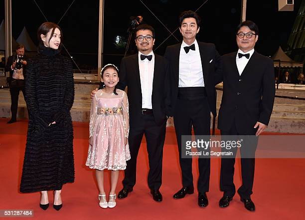 Actress Jung Yumi Sooan Kim director Sangho Yeon actor Yoo Gong and guest attend the 'Train To Busan ' premiere during the 69th annual Cannes Film...
