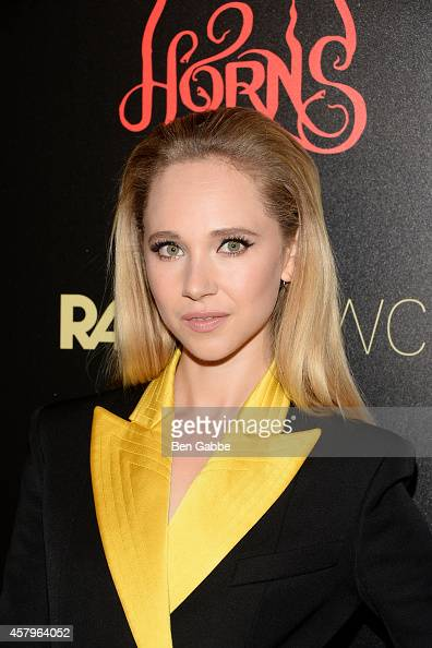 Actress Juno Temple attends the RADiUS TWC and The Cinema Society New York Premiere of 'Horns' at Landmark's Sunshine Cinema on October 27 2014 in...