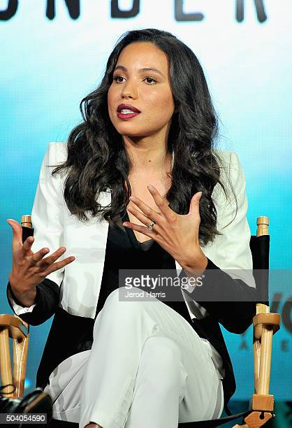 Actress Jurnee SmollettBell speaks onstage during the WGN America Winter 2016 TCA Press Tour for 'Underground' at The Langham Huntington Hotel and...