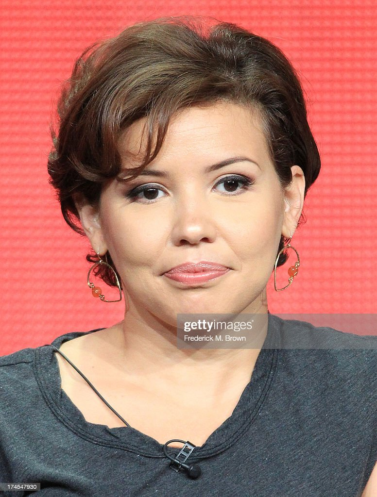 Actress Justina Machado speaks onstage during the 'Welcome to the Family' panel discussion at the NBC portion of the 2013 Summer Television Critics Association tour - Day 4 at the Beverly Hilton Hotel on July 27, 2013 in Beverly Hills, California.