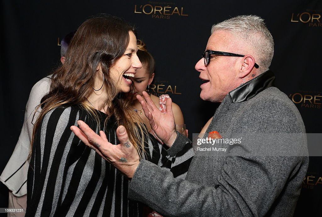Actress <a gi-track='captionPersonalityLinkClicked' href=/galleries/search?phrase=Justine+Bateman&family=editorial&specificpeople=240325 ng-click='$event.stopPropagation()'>Justine Bateman</a> (L) and L'Oreal Paris Consulting Make-up Artist Billy B. (R) attend the L'Oreal cocktail party at Four Seasons Hotel Los Angeles at Beverly Hills on January 11, 2013 in Beverly Hills, California.