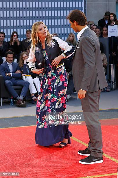 Actress Justine Fraioli animates and Tennis player Rafael Nadal competes during Tommy Hilfiger hosts Tommy X Nadal Party Tennis Soccer Match on May...