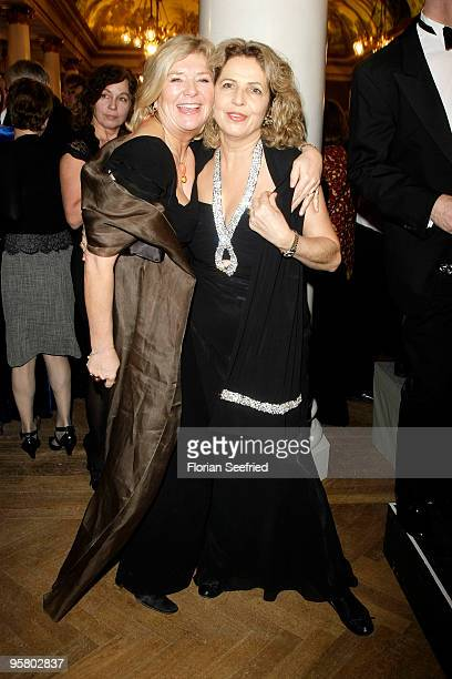 Actress Jutta Speidel and actress Michaela May attend the afterparty of the Bavarian Movie Award 2010 at the Prinzregententheater on January 15 2010...