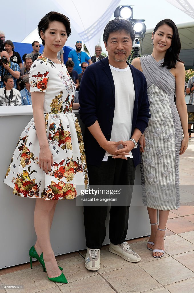 Actress Kaho, director Hirokazu Koreeda and actress Masami Nagasawa attend a photocall for 'Umimachi Diary' ('Our Little Sister') during the 68th annual Cannes Film Festival on May 14, 2015 in Cannes, France.