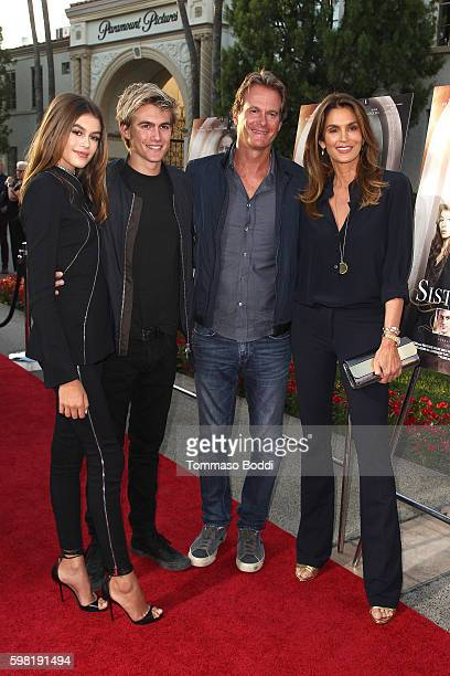 Actress Kaia Gerber Presley Walker Gerber Rande Gerber and model Cindy Crawford attend the premiere of Lifetime's 'Sister Cities' held at Paramount...