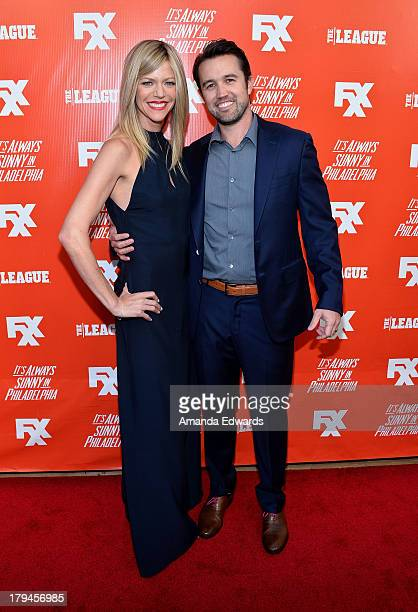 Actress Kaitlin Olson and actor Rob McElhenney arrive at the FXX Network launch party featuring the season premieres of 'It's Always Sunny In...