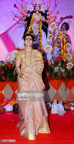 Actress Kajol visit the pandal at North Bombay Sarbojanin Durga Puja in Mumbai