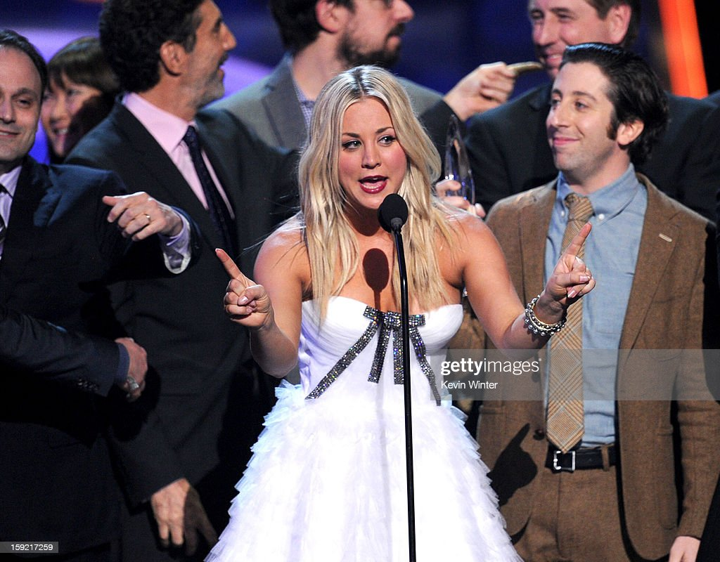 Actress <a gi-track='captionPersonalityLinkClicked' href=/galleries/search?phrase=Kaley+Cuoco&family=editorial&specificpeople=208988 ng-click='$event.stopPropagation()'>Kaley Cuoco</a> accepts Favorite Network TV Comedy award for 'The Big Bang Theory' onstage at the 39th Annual People's Choice Awards at Nokia Theatre L.A. Live on January 9, 2013 in Los Angeles, California.