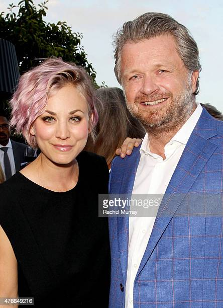 Actress Kaley Cuoco and EEM Founder CEO Christophe Ameeuw attend the Longines Masters of Los Angeles welcoming event at the Petit Ermitage in West...