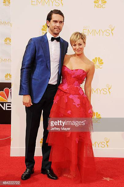 Actress Kaley Cuoco and husband Ryan Sweeting arrive at the 66th Annual Primetime Emmy Awards at Nokia Theatre LA Live on August 25 2014 in Los...