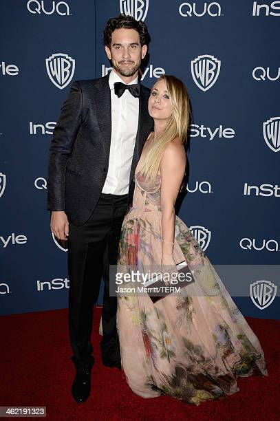 Actress Kaley Cuoco and husband Ryan Sweeting attend the 2014 InStyle and Warner Bros 71st Annual Golden Globe Awards PostParty on January 12 2014 in...