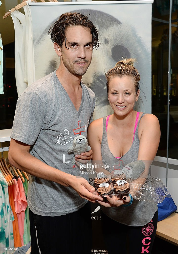 Actress <a gi-track='captionPersonalityLinkClicked' href=/galleries/search?phrase=Kaley+Cuoco&family=editorial&specificpeople=208988 ng-click='$event.stopPropagation()'>Kaley Cuoco</a> (R) and husband <a gi-track='captionPersonalityLinkClicked' href=/galleries/search?phrase=Ryan+Sweeting&family=editorial&specificpeople=851783 ng-click='$event.stopPropagation()'>Ryan Sweeting</a> attend the launch of Wheels for Seals benefiting The Humane Society Of The United States at Soul Cycle Beverly Hills on June 23, 2014 in Beverly Hills, California.