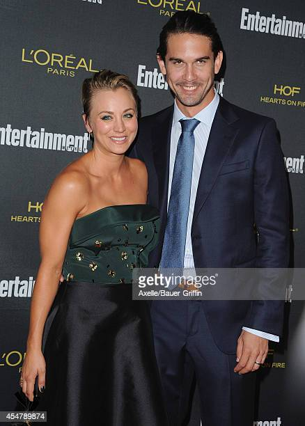 Actress Kaley Cuoco and husband Ryan Sweeting attends the 2014 Entertainment Weekly PreEmmy party at Fig Olive Melrose Place on August 23 2014 in...
