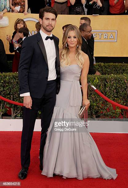 Actress Kaley Cuoco and Ryan Sweeting arrive at the 20th Annual Screen Actors Guild Awards at The Shrine Auditorium on January 18 2014 in Los Angeles...
