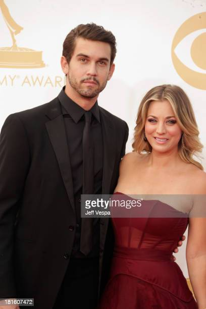 Actress Kaley Cuoco and Ryan Sweeting arrive at the 65th Annual Primetime Emmy Awards held at Nokia Theatre LA Live on September 22 2013 in Los...