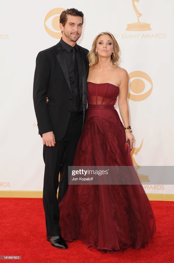 Actress Kaley Cuoco and Ryan Sweeting arrive at the 65th Annual Primetime Emmy Awards at Nokia Theatre L.A. Live on September 22, 2013 in Los Angeles, California.