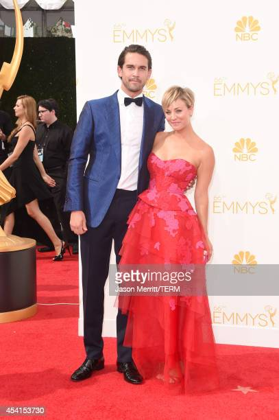 Actress Kaley Cuoco and Ryan Sweeting attend the 66th Annual Primetime Emmy Awards held at Nokia Theatre LA Live on August 25 2014 in Los Angeles...