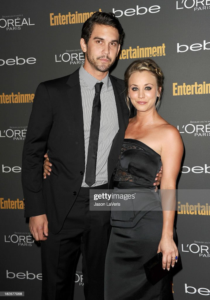 Actress Kaley Cuoco (R) and Ryan Sweeting attend the Entertainment Weekly pre-Emmy party at Fig & Olive Melrose Place on September 20, 2013 in West Hollywood, California.