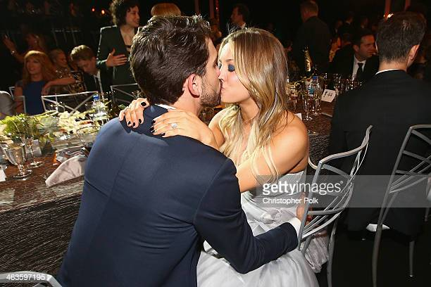 Actress Kaley Cuoco and tennis player Ryan Sweeting 20th Annual Screen Actors Guild Awards at The Shrine Auditorium on January 18 2014 in Los Angeles...