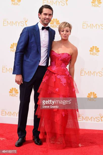 Actress Kaley Cuoco and tennis player Ryan Sweeting attend the 66th Annual Primetime Emmy Awards held at Nokia Theatre LA Live on August 25 2014 in...