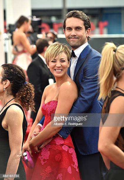 Actress Kaley Cuoco and tennis player Ryan Sweeting attend the 66th Annual Primetime Emmy Awards held at the Nokia Theatre LA Live on August 25 2014...