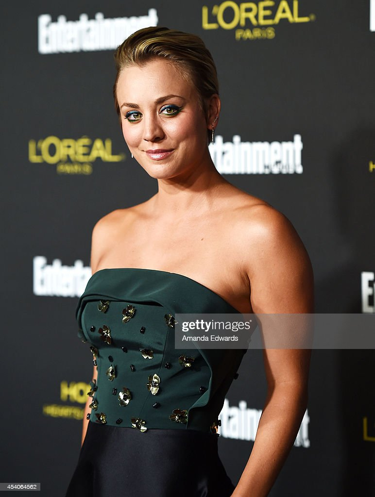 Actress Kaley Cuoco arrives at the 2014 Entertainment Weekly Pre-Emmy Party at Fig & Olive Melrose Place on August 23, 2014 in West Hollywood, California.