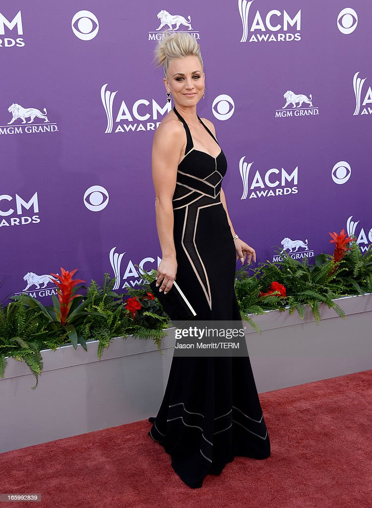 Actress Kaley Cuoco arrives at the 48th Annual Academy of Country Music Awards at the MGM Grand Garden Arena on April 7, 2013 in Las Vegas, Nevada.