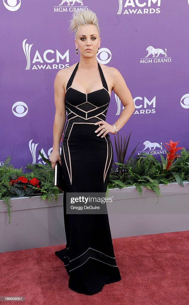 Actress Kaley Cuoco arrives at the 48th Annual Academy Of Country Music Awards at MGM Grand Garden Arena on April 7, 2013 in Las Vegas, Nevada.