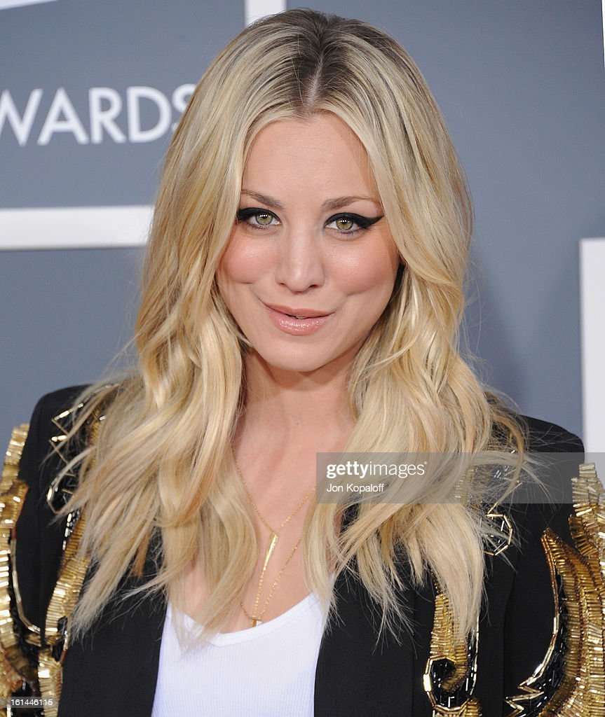 Actress Kaley Cuoco arrives at The 55th Annual GRAMMY Awards at Staples Center on February 10, 2013 in Los Angeles, California.