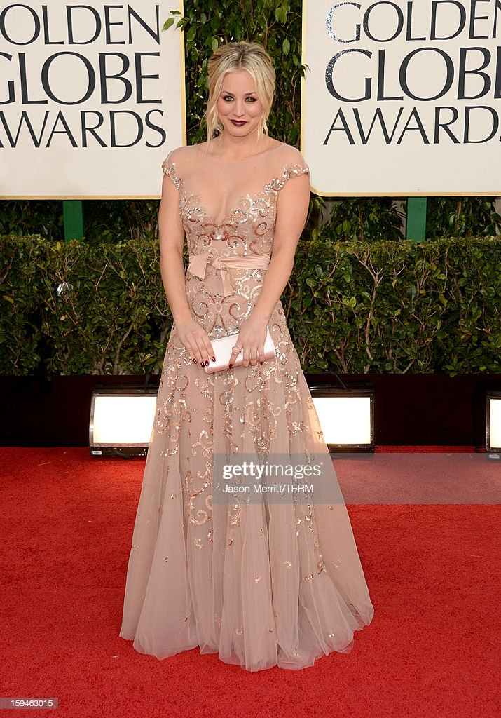 Actress Kaley Cuoco arrives at the 70th Annual Golden Globe Awards held at The Beverly Hilton Hotel on January 13, 2013 in Beverly Hills, California.