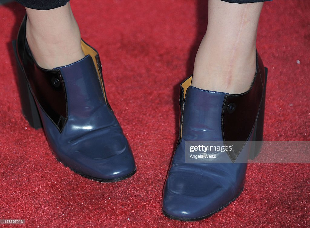 Actress Kaley Cuoco (shoe detail) arrives at the 'Angel's Perch' West Coast Premiere at Laemmle's Royal Theatre on July 17, 2013 in Los Angeles, California.