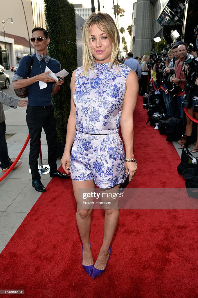 Actress <a gi-track='captionPersonalityLinkClicked' href=/galleries/search?phrase=Kaley+Cuoco&family=editorial&specificpeople=208988 ng-click='$event.stopPropagation()'>Kaley Cuoco</a> arrives at the premiere of 'Blue Jasmine' hosted by AFI & Sony Picture Classics at AMPAS Samuel Goldwyn Theater on July 24, 2013 in Beverly Hills, California.