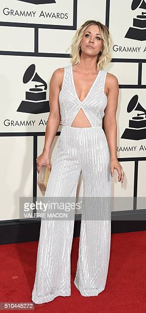 Actress Kaley Cuoco arrives on the red carpet during the 58th Annual Grammy Music Awards in Los Angeles February 15 2016 AFP PHOTO/ Valerie MACON /...
