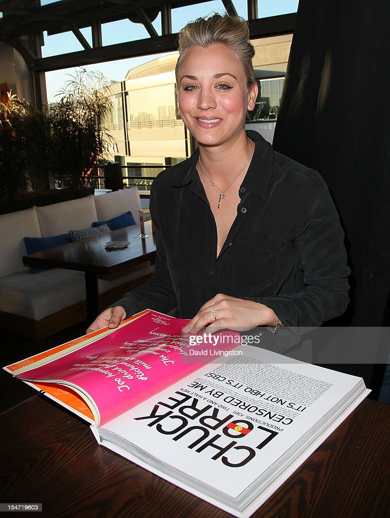 Actress <a gi-track='captionPersonalityLinkClicked' href=/galleries/search?phrase=Kaley+Cuoco&family=editorial&specificpeople=208988 ng-click='$event.stopPropagation()'>Kaley Cuoco</a> attends a reception to celebrate the release of Chuck Lorre's 'What Doesn't Kill Us Makes Us Bitter' at Mixology101 & Planet Dailies on October 24, 2012 in Los Angeles, California.