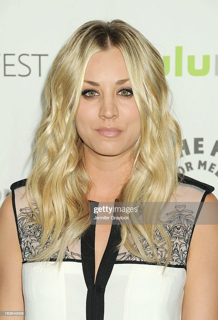 Actress <a gi-track='captionPersonalityLinkClicked' href=/galleries/search?phrase=Kaley+Cuoco&family=editorial&specificpeople=208988 ng-click='$event.stopPropagation()'>Kaley Cuoco</a> attends the 30th Annual PaleyFest: The William S. Paley Television Festival honors The Big Bang Theory held at Saban Theatre on March 13, 2013 in Beverly Hills, California.