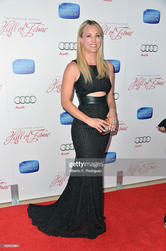 Actress Kaley Cuoco attends the Academy of Television Arts & Sciences' 22nd Annual Hall of Fame Induction Gala at The Beverly Hilton Hotel on March 11, 2013 in Beverly Hills, California.
