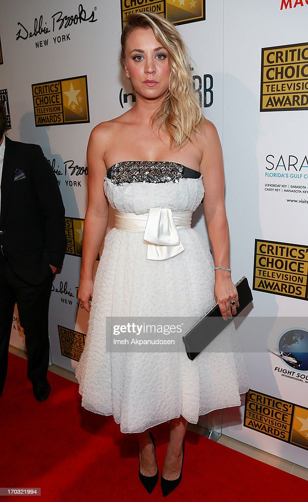 Actress <a gi-track='captionPersonalityLinkClicked' href=/galleries/search?phrase=Kaley+Cuoco&family=editorial&specificpeople=208988 ng-click='$event.stopPropagation()'>Kaley Cuoco</a> attends the Critics' Choice Television Awards at The Beverly Hilton Hotel on June 10, 2013 in Beverly Hills, California.