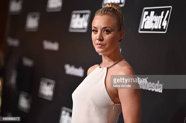 Actress Kaley Cuoco attends the Fallout 4 video game launch event in downtown Los Angeles on November 5 2015 in Los Angeles California