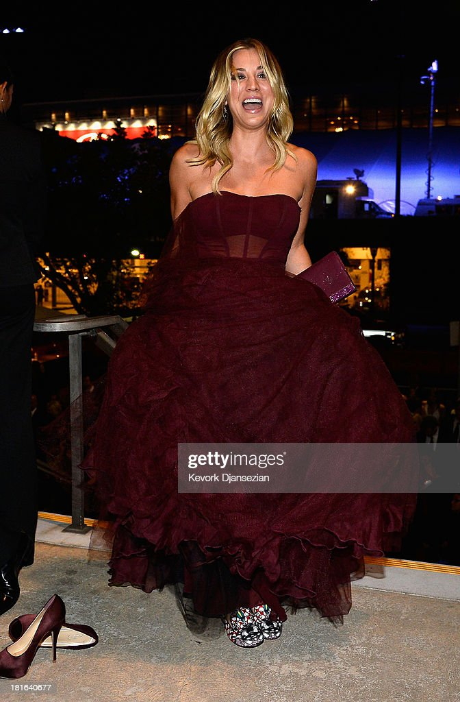 Actress <a gi-track='captionPersonalityLinkClicked' href=/galleries/search?phrase=Kaley+Cuoco&family=editorial&specificpeople=208988 ng-click='$event.stopPropagation()'>Kaley Cuoco</a> attends the Governors Ball during the 65th Annual Primetime Emmy Awards at Nokia Theatre L.A. Live on September 22, 2013 in Los Angeles, California.
