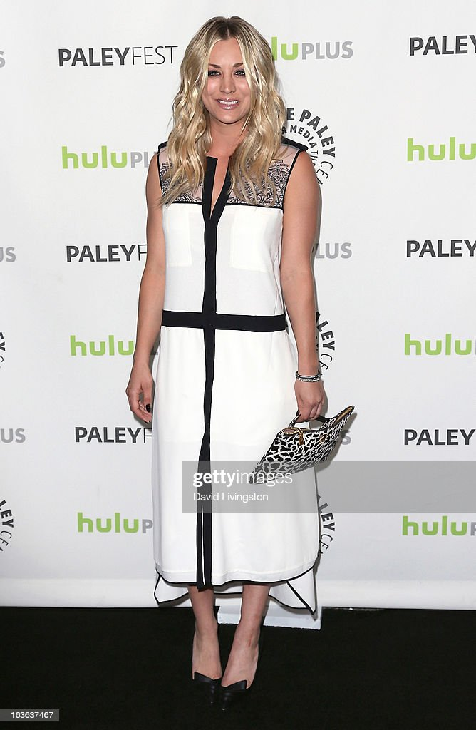 Actress <a gi-track='captionPersonalityLinkClicked' href=/galleries/search?phrase=Kaley+Cuoco&family=editorial&specificpeople=208988 ng-click='$event.stopPropagation()'>Kaley Cuoco</a> attends The Paley Center For Media's PaleyFest 2013 honoring 'The Big Bang Theory' at the Saban Theatre on March 13, 2013 in Beverly Hills, California.