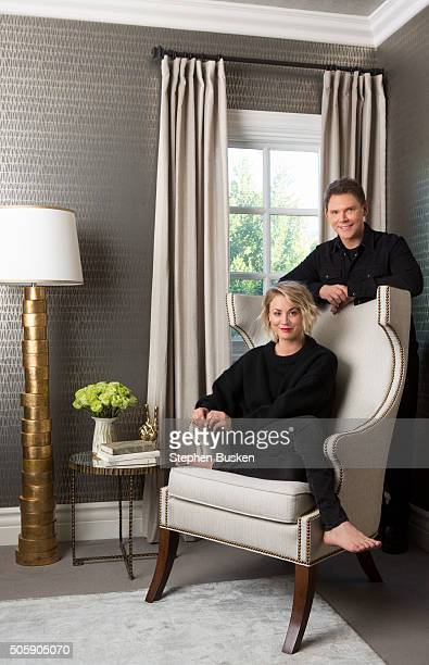 Actress Kaley Cuoco is photographed with her interior designer Jeff Andrews in her new bedroom at her home for Wayfaircom on December 9 2015 in Los...