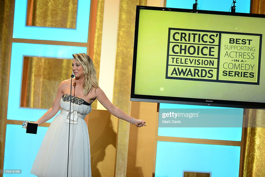 Actress Kaley Cuoco onstage during the Broadcast Television Journalists Association's third annual Critics' Choice Television Awards at The Beverly Hilton Hotel on June 10, 2013 in Los Angeles, California.
