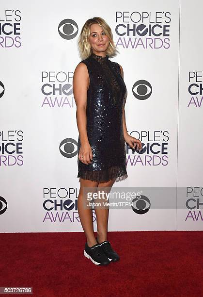 Actress Kaley Cuoco poses in the press room during the People's Choice Awards 2016 at Microsoft Theater on January 6 2016 in Los Angeles California