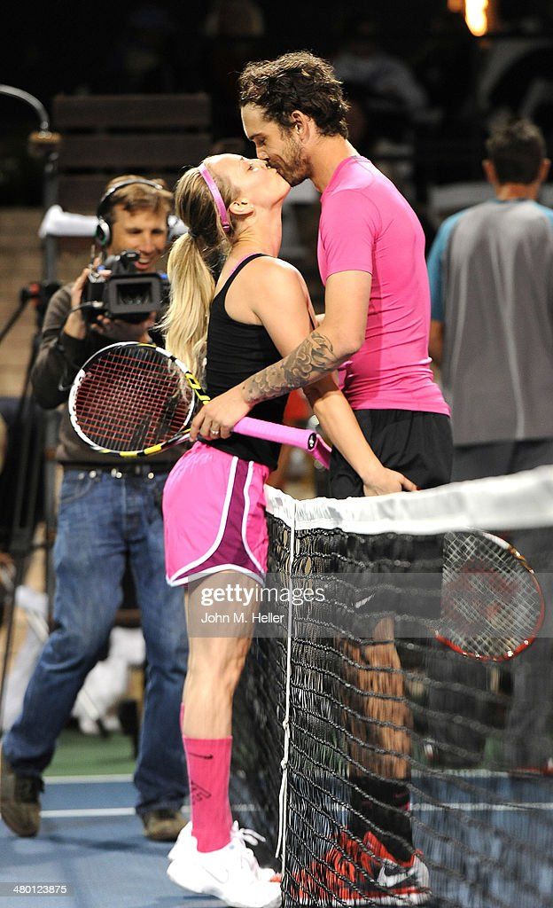 Actress Kaley Cuoco Sweeting and tennis professional Ryan Sweeting play in a celebrity tennis match at the 2014 USTA Men's Pro Tennis Championships...