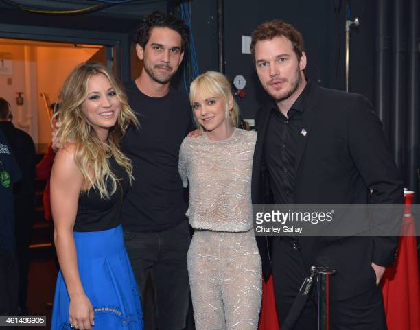 Actress Kaley Cuoco tennis player Ryan Sweeting and actors Anna Faris and Chris Pratt attend The 40th Annual People's Choice Awards at Nokia Theatre...
