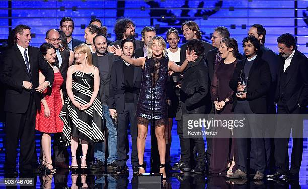 Actress Kaley Cuoco with actors and producers from 'The Big Bang Theory' including Melissa Rauch Johnny Galecki Simon Helberg Jim Parsons Mayim...