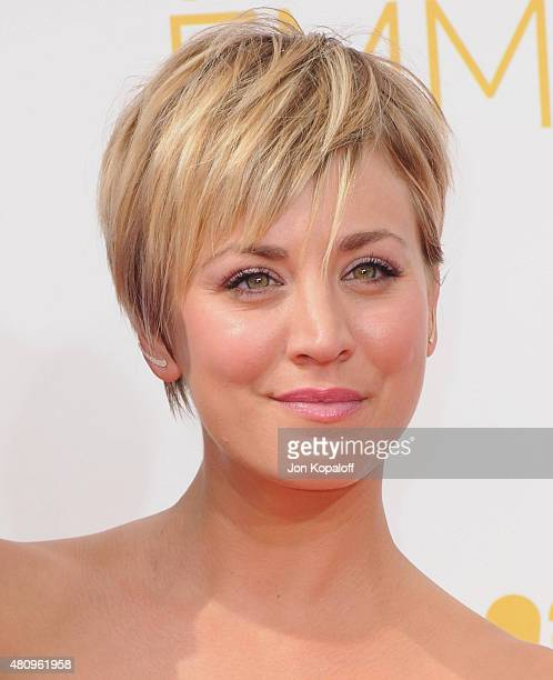 Actress Kaley CuocoSweeting arrives at the 66th Annual Primetime Emmy Awards at Nokia Theatre LA Live on August 25 2014 in Los Angeles California