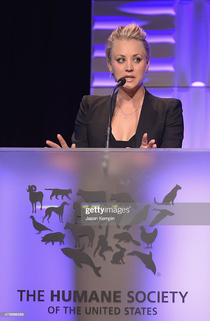 Actress Kaley CuocoSweeting speaks onstage during The Humane Society Of The United States' Los Angeles Benefit Gala at the Beverly Wilshire Hotel on...