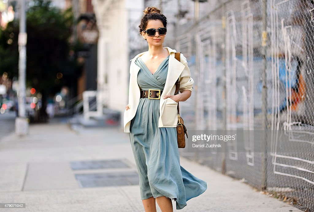 Actress <a gi-track='captionPersonalityLinkClicked' href=/galleries/search?phrase=Kangana+Ranaut&family=editorial&specificpeople=4325041 ng-click='$event.stopPropagation()'>Kangana Ranaut</a> is seen around Soho wearing a Gucci dress, Burberry jacket, Prada sunglasses and a Gucci belt and bag in New York City.