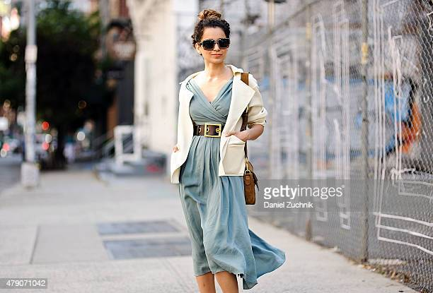 Actress Kangana Ranaut is seen around Soho wearing a Gucci dress Burberry jacket Prada sunglasses and a Gucci belt and bag in New York City